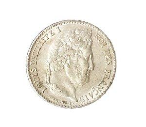 Moeda Antiga da França 1/4 Franc 1836 A