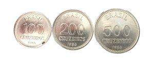 Moedas Antigas do Brasil 100, 200 e 500 Cruzeiros 1986 - Nova República