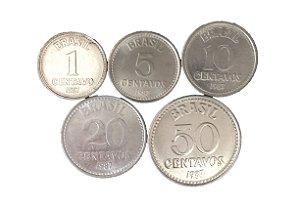 Moedas Antigas do Brasil 1, 5, 10, 20 e 50 Centavos de Cruzado 1987