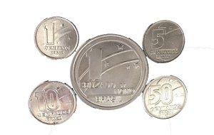 Moedas Antigas do Brasil 1, 5, 10 e 50 Centavos de Cruzado Novo 1989 e 1 Cruzado Novo 1989 Comemorativo do Centenário da República