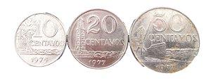 Moedas Antigas do Brasil 10 Centavos de Cruzeiro 1975, 20 Centavos de Cruzeiro 1977 e 50 Centavos de Cruzeiro 1977