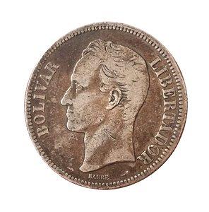 Moeda Antiga da Venezuela 5 Bolivares 1910 (Gram 25)