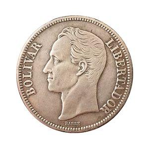 Moeda Antiga da Venezuela 5 Bolivares 1936 (Gram 25)