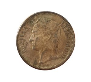 Moeda Antiga da Venezuela 2 Bolivares 1945 (Gram 10)
