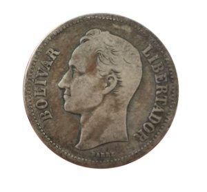 Moeda Antiga da Venezuela 2 Bolivares 1936 (Gram 10)