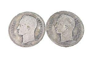 Moedas Antigas da Venezuela 1 Bolivar 1935 e 1936 (Gram 5)