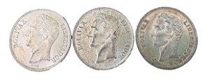 Moedas Antigas da Venezuela 1 Bolivar 1945, 1954 e 1960 (Gram 5)