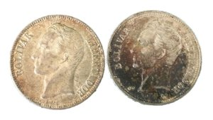 Moedas Antigas da Venezuela 1 Bolivar 1954 e 1960 (Gram 5)