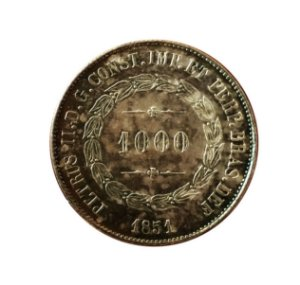 """Moeda Antiga do Brasil 1000 Réis 1851 - """"DEF"""" sem Ponto"""