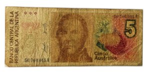 Cédula Antiga da Argentina 5 Australes ND(1985-1989)