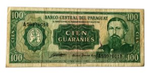 Cédula Antiga do Paraguai 100 Guaranies L. 1952 (1982)