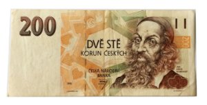 Cédula Antiga da República Tcheca 200 Korun 1993