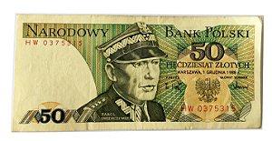 Cédula Antiga da Polônia 50 Zlotych 1988