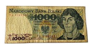 Cédula Antiga da Polônia 1000 Zlotych 1982