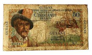 Cédula Antiga da Guiana Francesa 50 Francs ND(1947-1949)