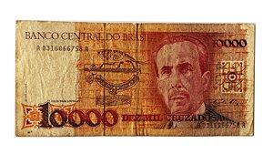 Cédula Antiga do Brasil 10 000 Cruzados 1988
