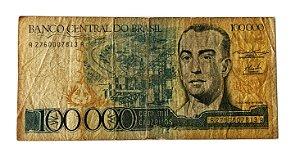 Cédula Antiga do Brasil 100 000 Cruzeiros 1985