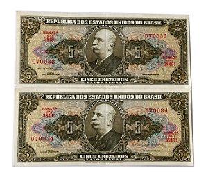 02 Cédulas Antigas do Brasil 5 Cruzeiros 1964 sequenciadas