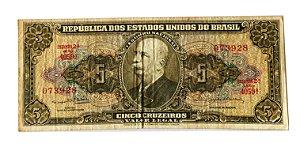 Cédula Antiga do Brasil 5 Cruzeiros 1964