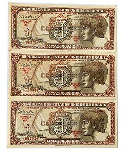 03 Cédulas Antigas do Brasil 5 Cruzeiros 1962 sequenciais