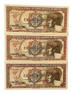 03 Cédulas Antigas do Brasil 5 Cruzeiros 1962