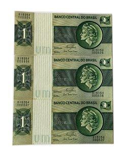 03 Cédulas Antigas do Brasil 1 Cruzeiro 1980 sequenciais