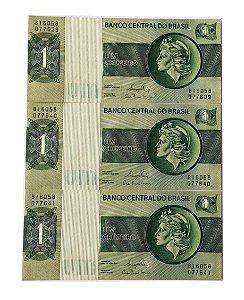 03 Cédulas Antigas do Brasil 1 Cruzeiro 1980 sequenciadas