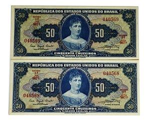 02 Cédulas Antigas do Brasil 50 Cruzeiros 1961 sequenciadas