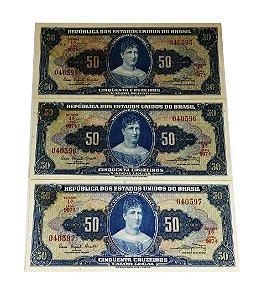 03 Cédulas Antigas do Brasil 50 Cruzeiros 1961 sequenciadas