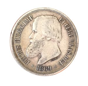 Moeda Antiga do Brasil 1000 Réis 1869 - Luster F.