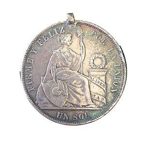 Moeda Antiga do Peru Un Sol 1870