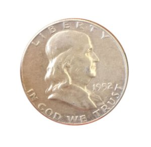 Moeda Antiga dos Estados Unidos Franklin Half Dollar 1952