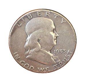 Moeda Antiga dos Estados Unidos Franklin Half Dollar 1953 D