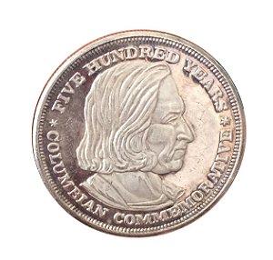 Moeda antiga dos Estados Unidos 1992 Comemorativa dos 500 anos de Descobrimento da América por Cristóvão Colombo