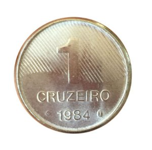 Moeda Antiga do Brasil 1 Cruzeiro 1984 - Cana-de-Açúcar