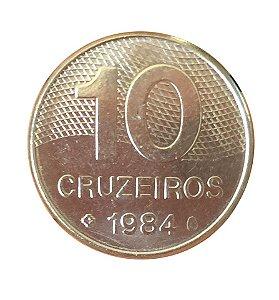 Moeda Antiga do Brasil 10 Cruzeiros 1984 - Integração Nacional