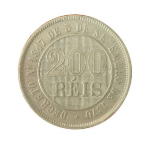 Moeda Antiga do Brasil 200 Réis 1887