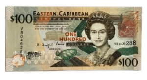 Cédula Antiga de Eastern Caribbean States 2008 $100 - Rainha