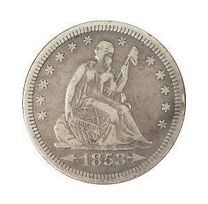 Moeda Antiga dos Estados Unidos Quarter Dollar 1853
