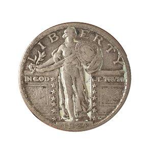 Moeda Antiga dos Estados Unidos Quarter Dollar 1924