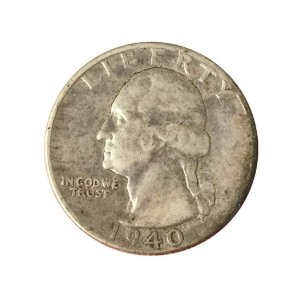 Moeda Antiga dos Estados Unidos Washington Quarter 1940