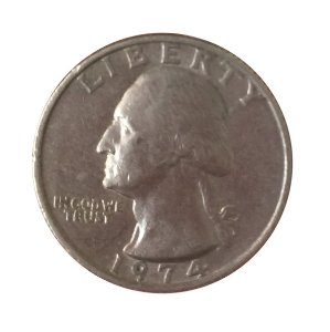 Moeda Antiga dos Estados Unidos Washington Quarter 1974