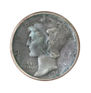 Moeda Antiga dos Estados Unidos One Dime 1941 D - Mercury Dime