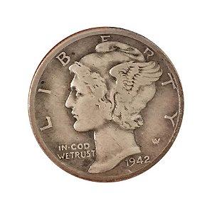 Moeda Antiga dos Estados Unidos One Dime 1942 - Mercury Dime