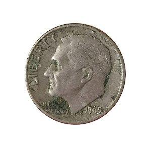 Moeda Antiga dos Estados Unidos One Dime 1965 - Roosevelt Dime