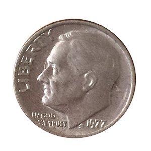 Moeda Antiga dos Estados Unidos One Dime 1977 - Roosevelt Dime