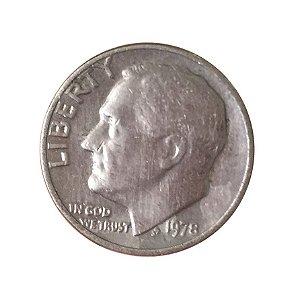 Moeda Antiga dos Estados Unidos One Dime 1978 - Roosevelt Dime