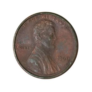 Moeda Antiga dos Estados Unidos One Cent 1969 - Lincoln