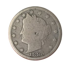 Moeda Antiga dos Estados Unidos V Cents 1883 - Liberty Nickel