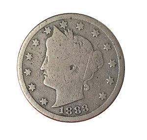Moeda Antiga dos Estados Unidos V Cents 1883 - Liberty Nickel